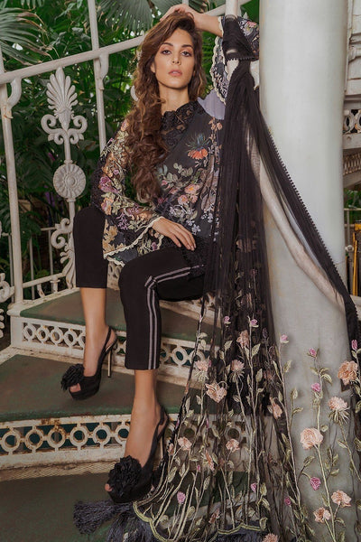 sobia Nazir 11B-Embroided 3pc lawn  dress with embroided net dupatta.