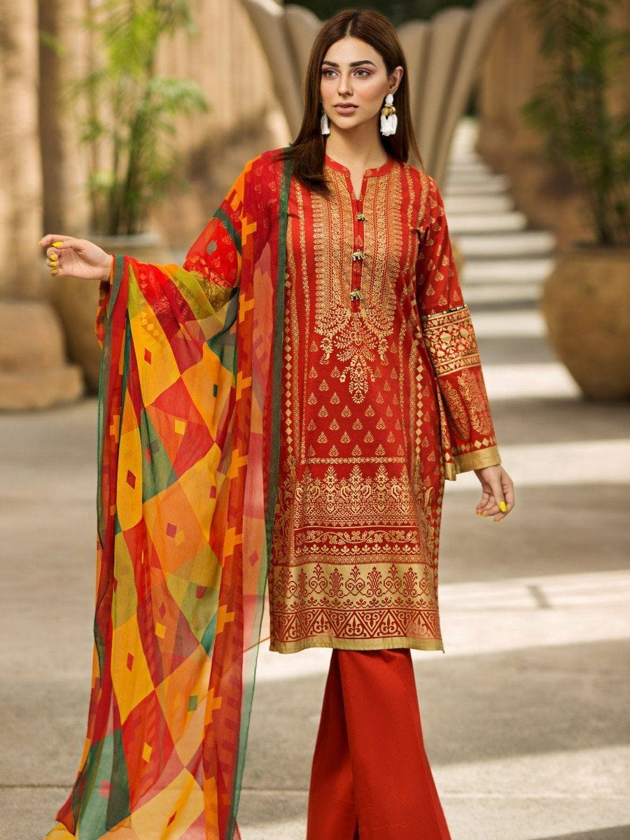 Limelight 18258-Embroided 3pc linen dress with printed linen dupatta. - gracestore.pk