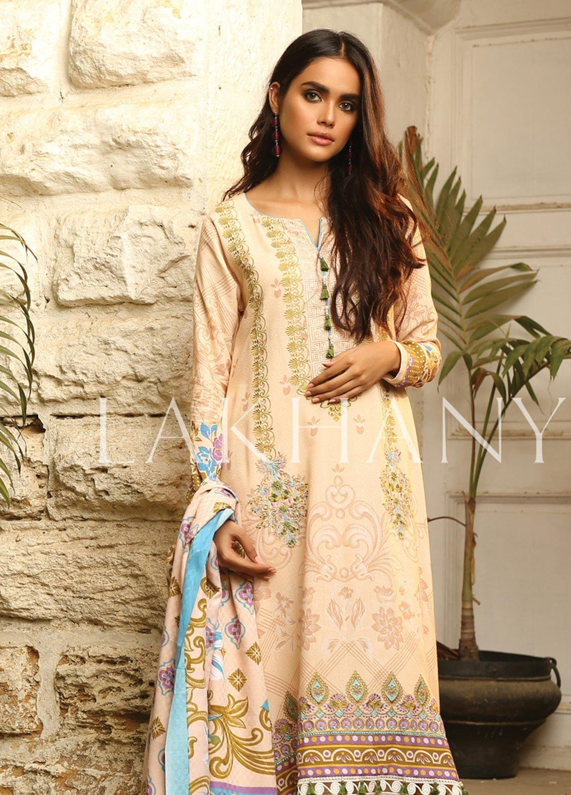 Lsm 18158 B-Embroided 3pc lawn dress with printed chiffon dupatta. - gracestore.pk