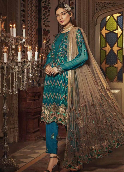 Embroyal 08-Heavy Embroided 3pc unstiched pure chiffon dress with embroided chiffon dupatta. - gracestore.pk
