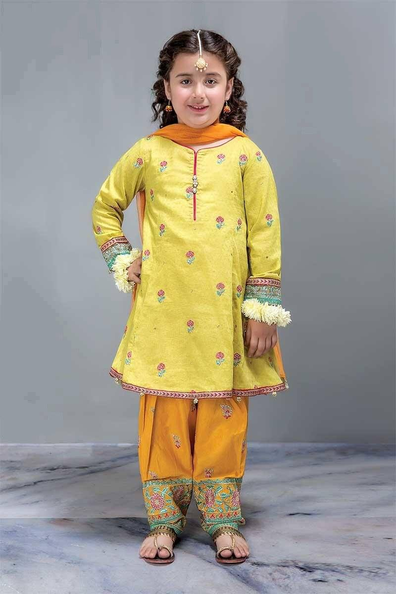 Maria 27-Kids Embroided 3pc lawn dress with net dupatta.