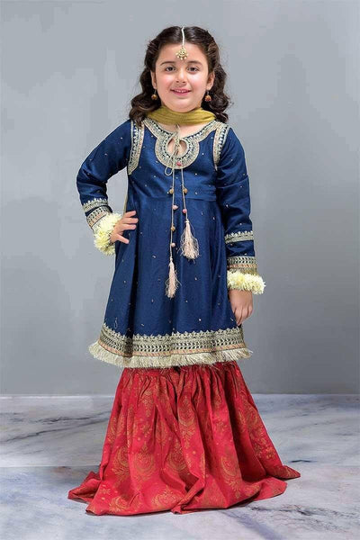 Maria 7 - Kids Embroided 3pc chiffon dress with net dupatta. - gracestore.pk