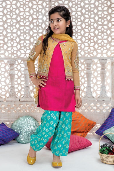 Maria 13 - Kids Embroided 3pc chiffon dress with net dupatta. - gracestore.pk