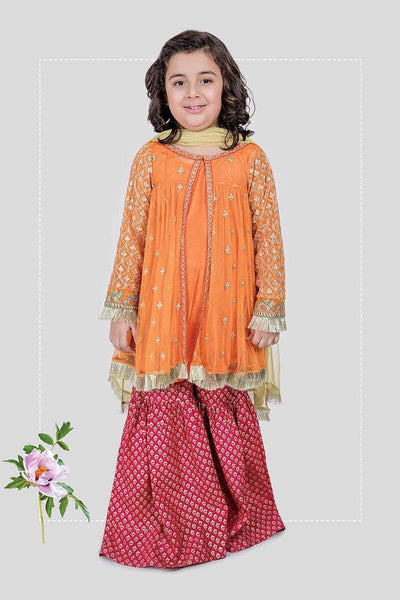 Maria 9- Kids Embroided 3pc chiffon dress with net dupatta. - gracestore.pk