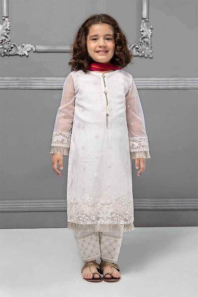 Maria 10 - Kids Embroided 3pc net dress with chiffon dupatta. - gracestore.pk