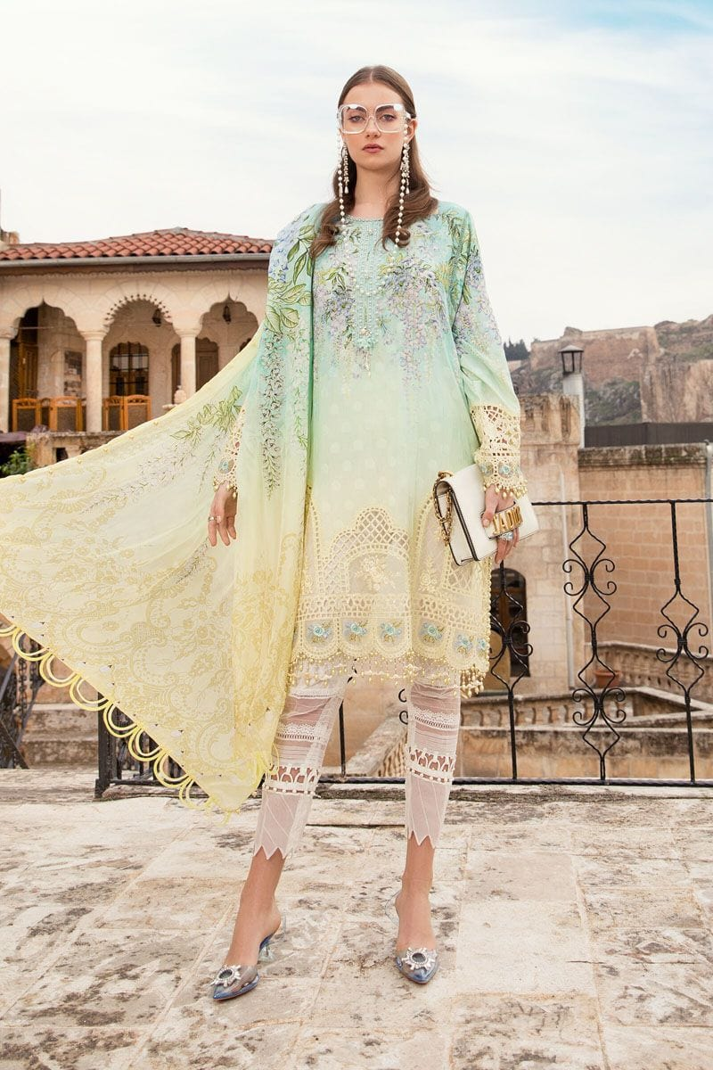 Maria A9- Embroidered in Cutwork 3pc lawn dress with printed chiffon dupatta.