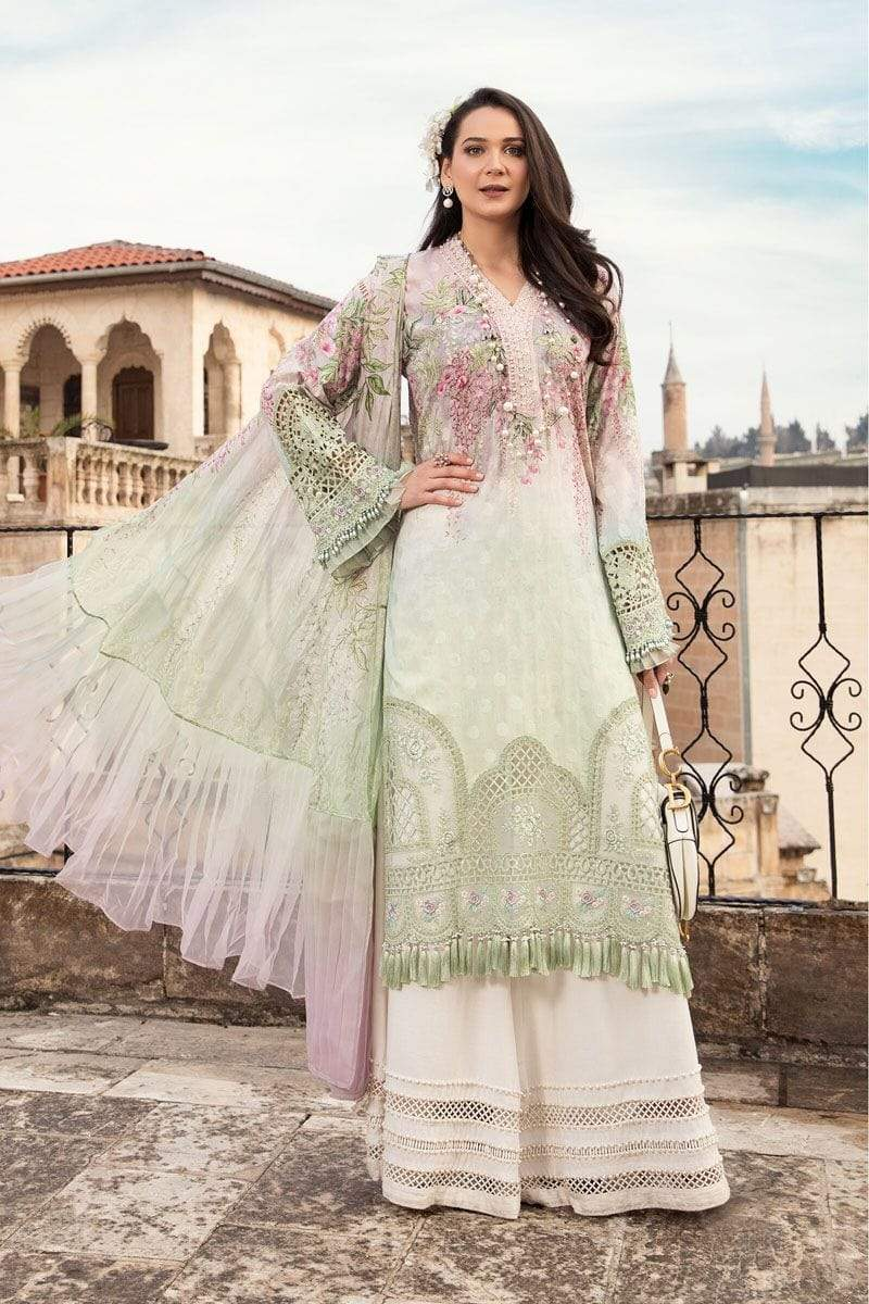Maria A8- Embroidered in Cutwork 3pc lawn dress with printed chiffon dupatta.