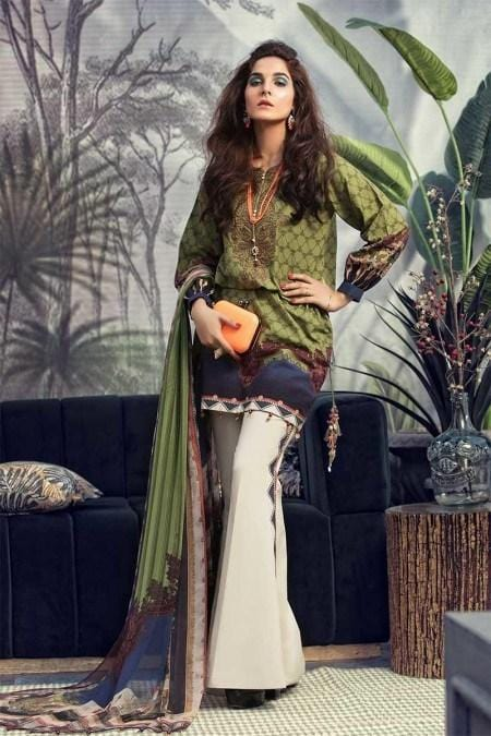 Maria 18442A-Embroided 3pc linen dress with printed wool shawl.
