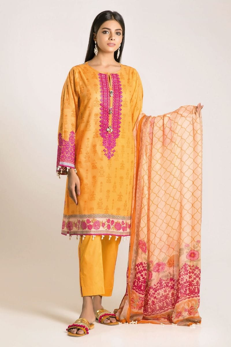 Khaadi 18079 A-Embroided 3pc linen dress with printed shawl. - gracestore.pk