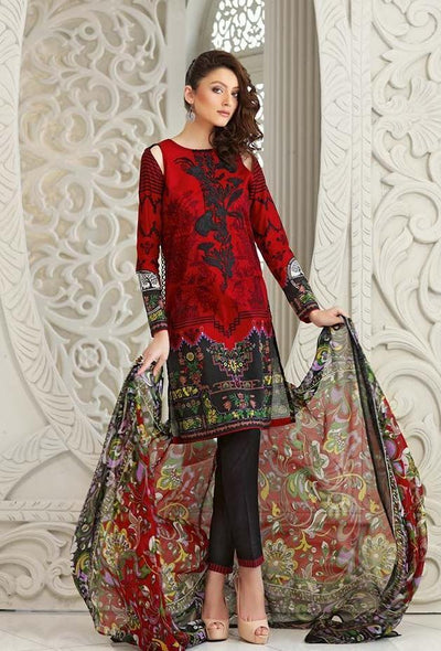 Gul Ahmad 63050-Embroided 3pc khaddar dress with wool shawl. - gracestore.pk