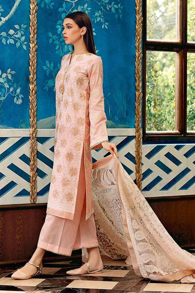 Gul Ahmad peach-Heavy (handwork) Embroided 3pc lawn dress with embroided chiffon dupatta. - gracestore.pk