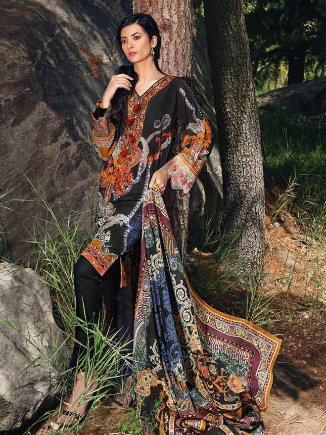 Gul Ahmed 18593-Embroided 3pc khaddar dress with wool shawl. - gracestore.pk