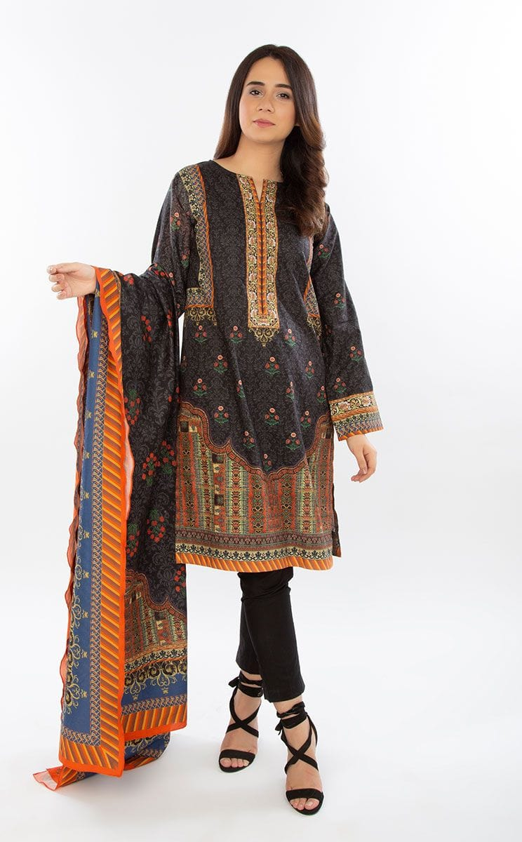 Zellbury 18484-Embroidered 3pc Linen dress with printed wool shawl. - gracestore.pk