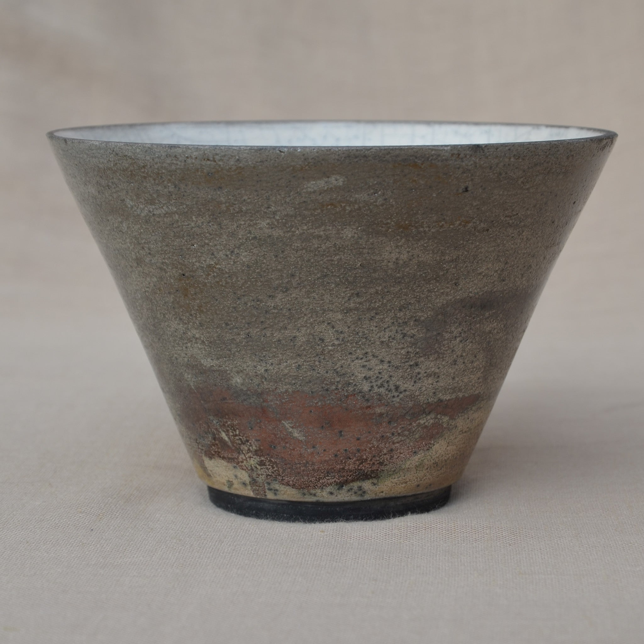 Large conical Raku bowl