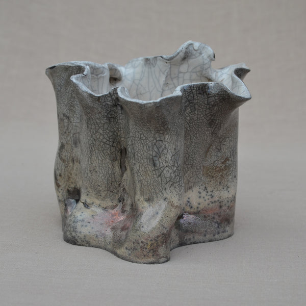 Free sculptured Raku vessel