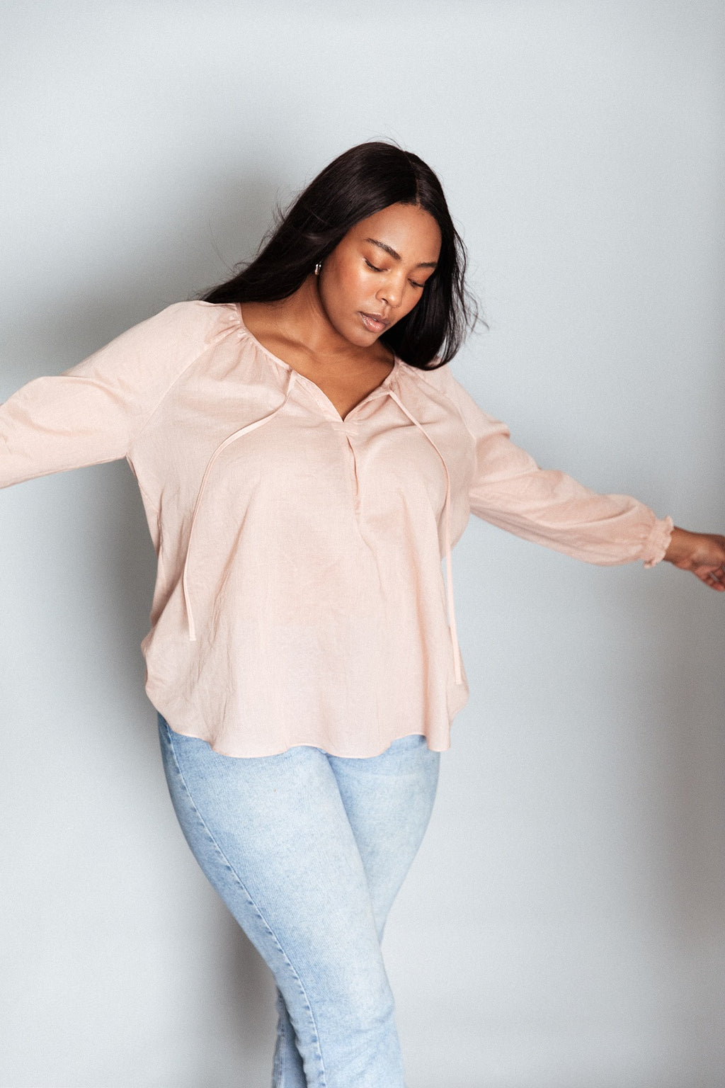 Poet Top in Cotton Lawn - Blush
