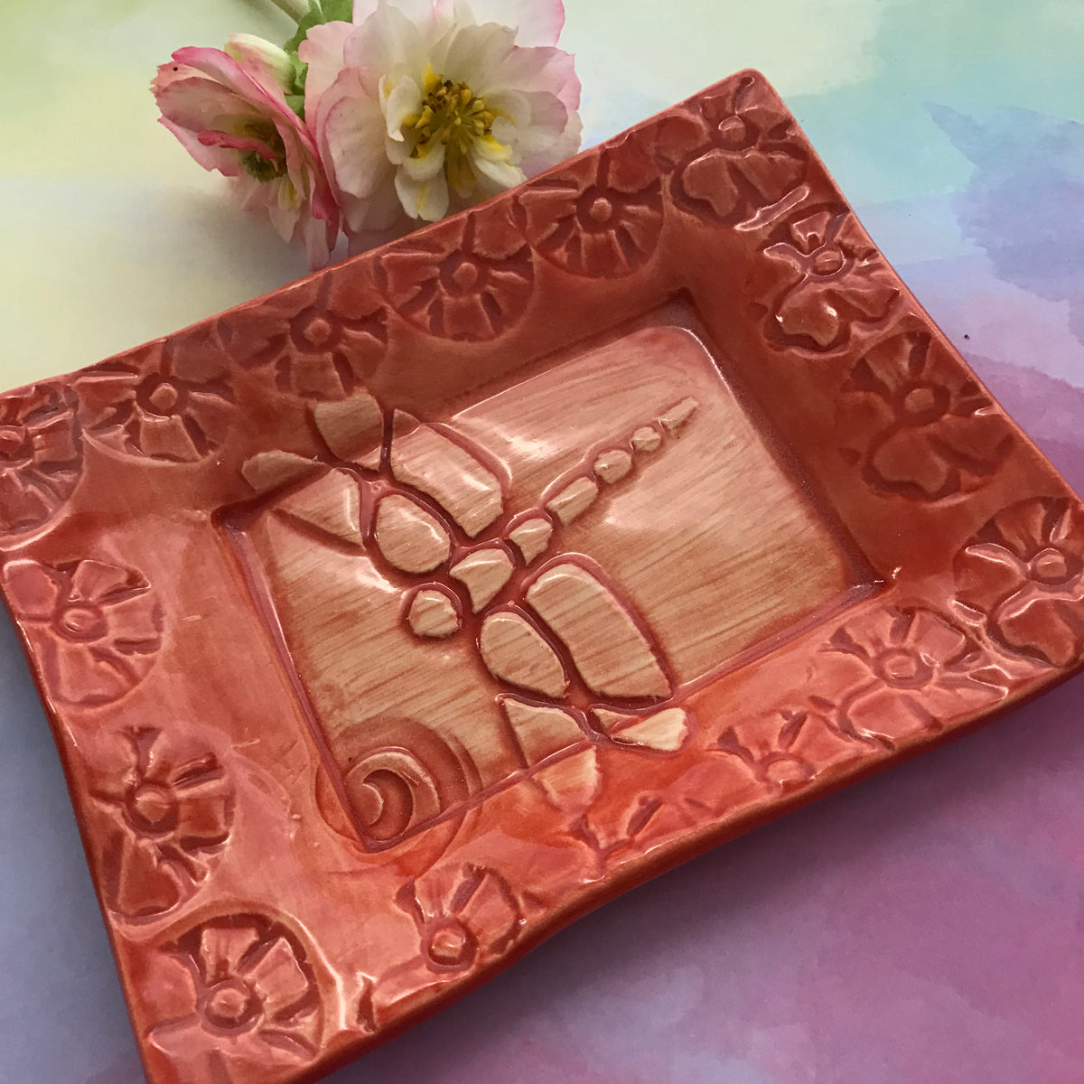 "Tray - 5 x 7 - ""Dragonfly"" - Coral"