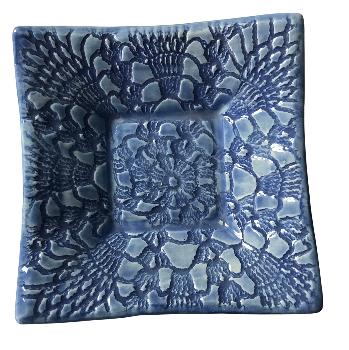 "Dipping Dish - ""Lace"" - Delft Blue"