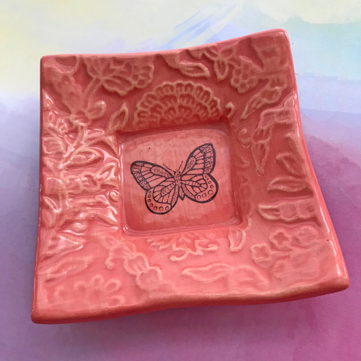"Dipping Dish - ""Butterfly"" - Deep Pink"