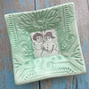 "Dipping Dish - ""Snow Couple"" - Spa Green"