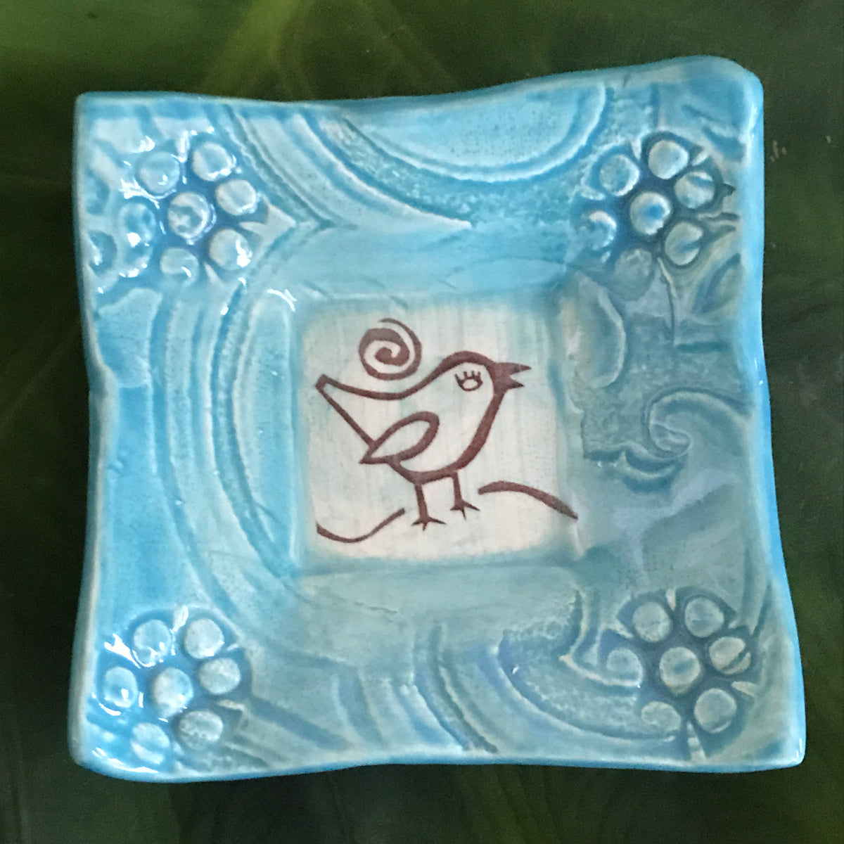 "Dipping Dish - Image - ""Songbird"" - Turquoise"