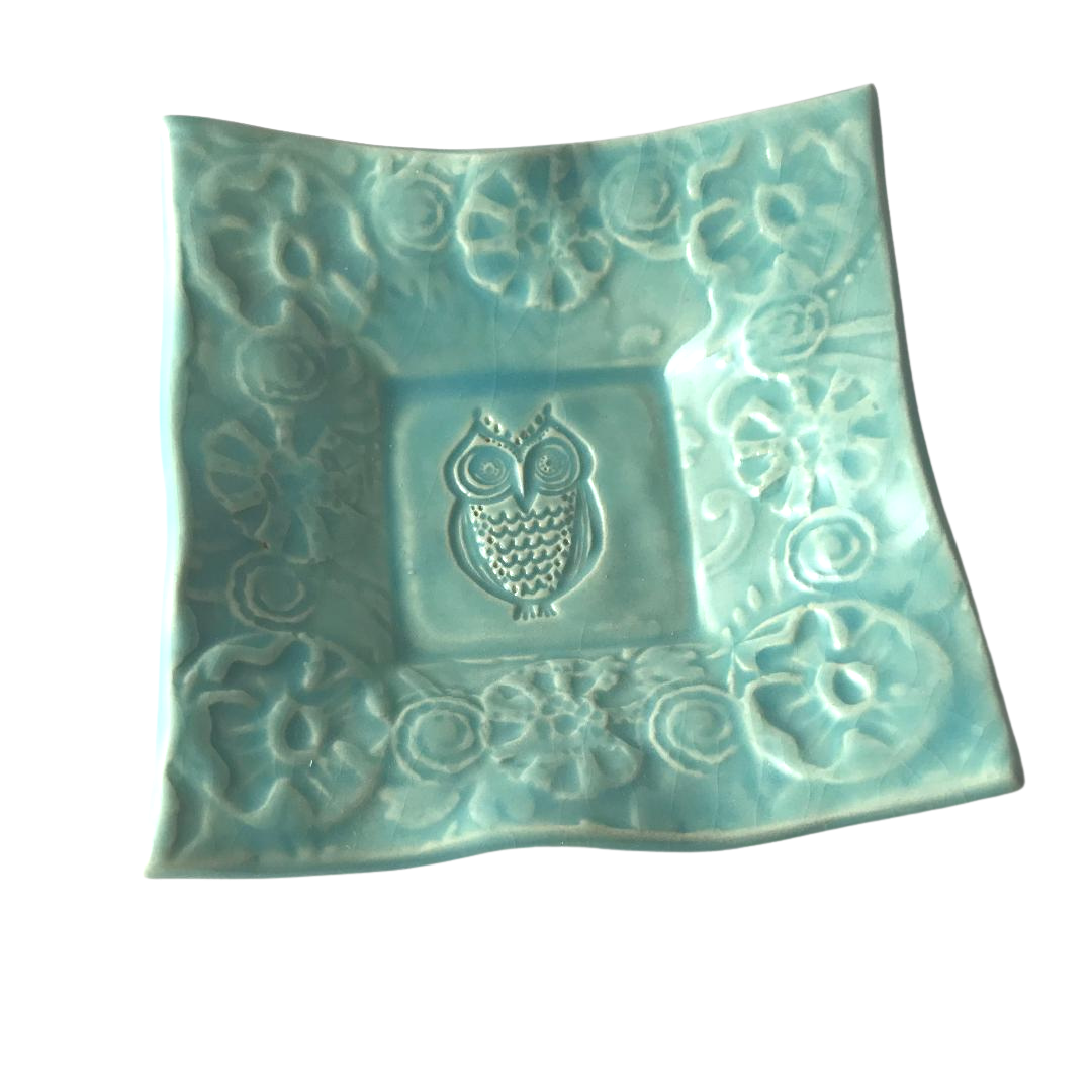 "Dipping Dish - ""Owl"" - Turquoise"