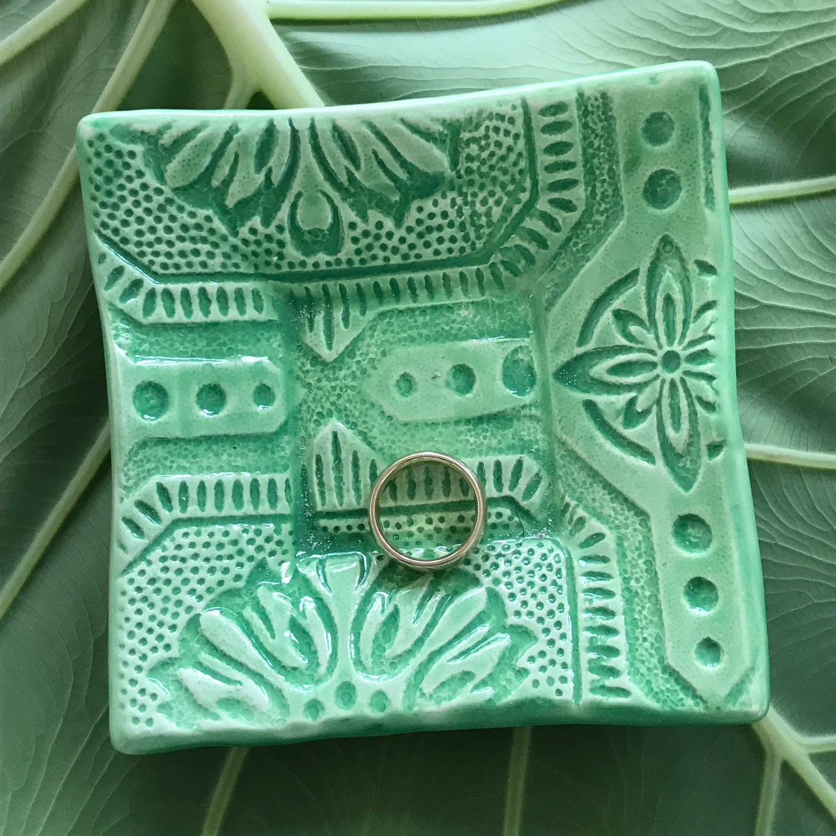 "Dipping Dish - ""Tin Ceiling"" - Green"