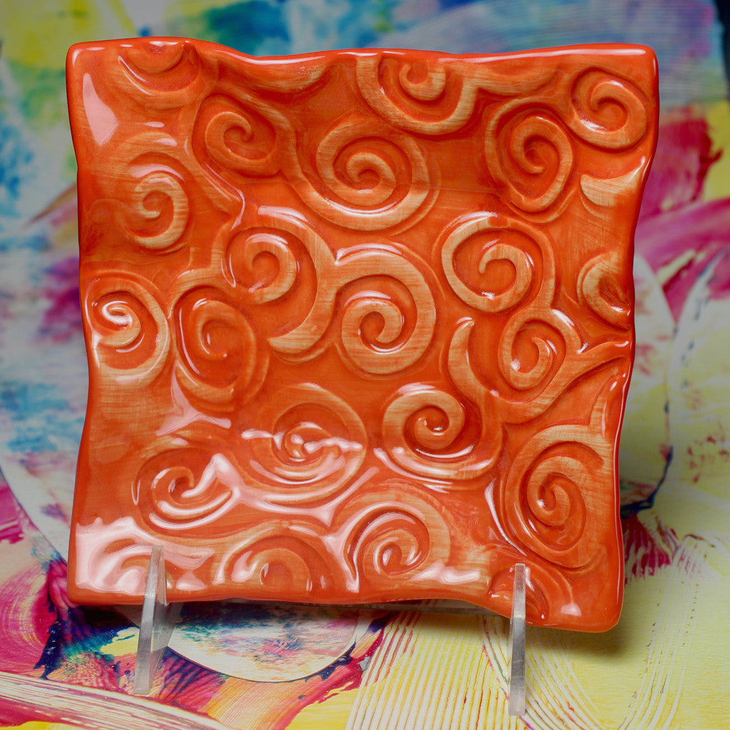Friends Bowl Spiral Design in Coral