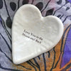 """Love you to the moon and back"" glazed on a white Giving Heart makes a wonderful gift for family and friends."