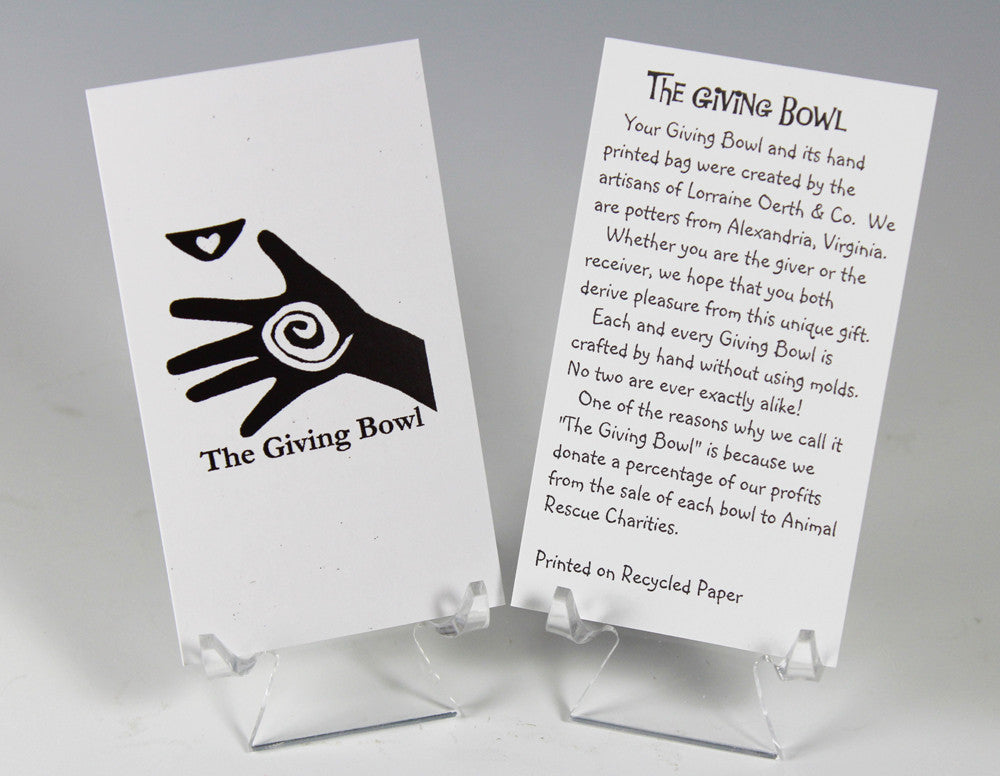 Giving Bowl Story Card by Lorraine Oerth with Hand and Spiral Logo