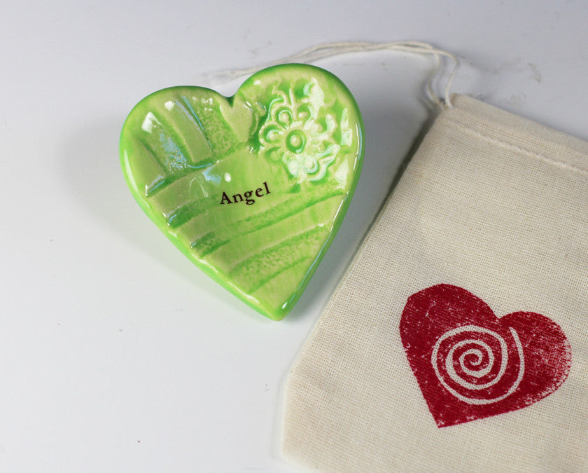 "Giving Heart - ""Angel"" - Shown in Lime Green"