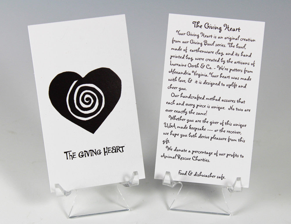 Lorraine Oerth's Giving Hearts come with a card that tells the Giving Heart story