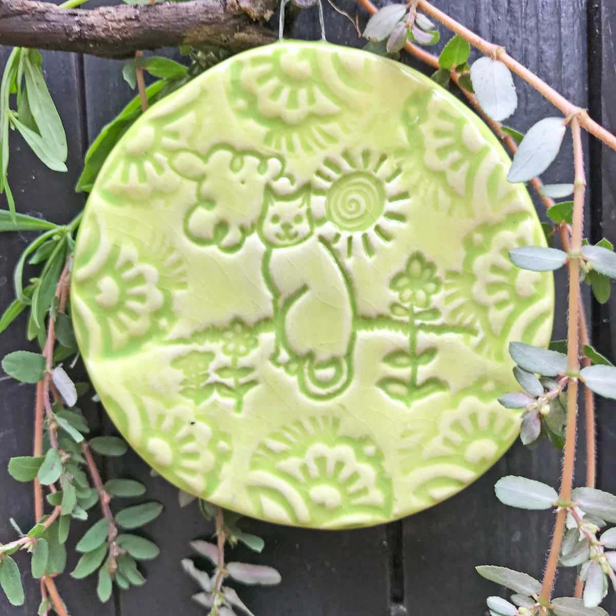 Cat lovers gift, our Cat in the Sun ornament is handmade, and glazed in a pretty lime green.