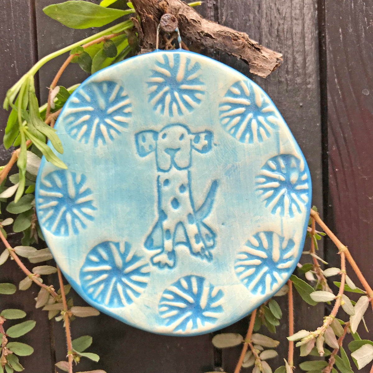 Dog Ornament glazed in marine blue glaze, a happy color often used for boat sails.