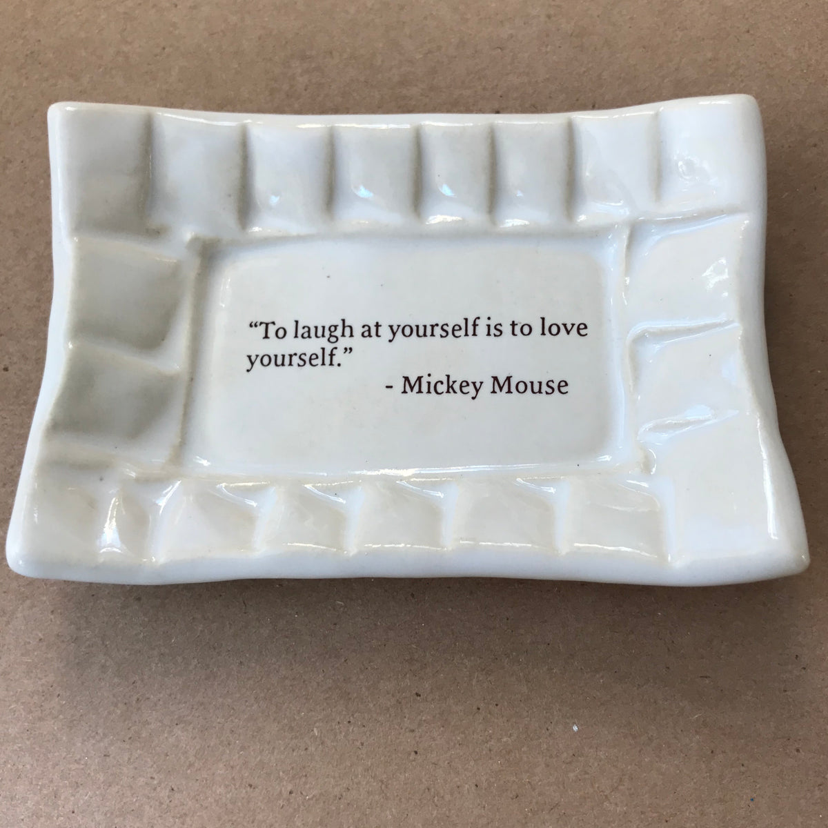 "Quotes Dish - ""To laugh at yourself"" - Mickey Mouse"