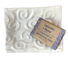 "Soap Dish Set - White ""Swirl Design"" with Lavender and Thyme Soap"