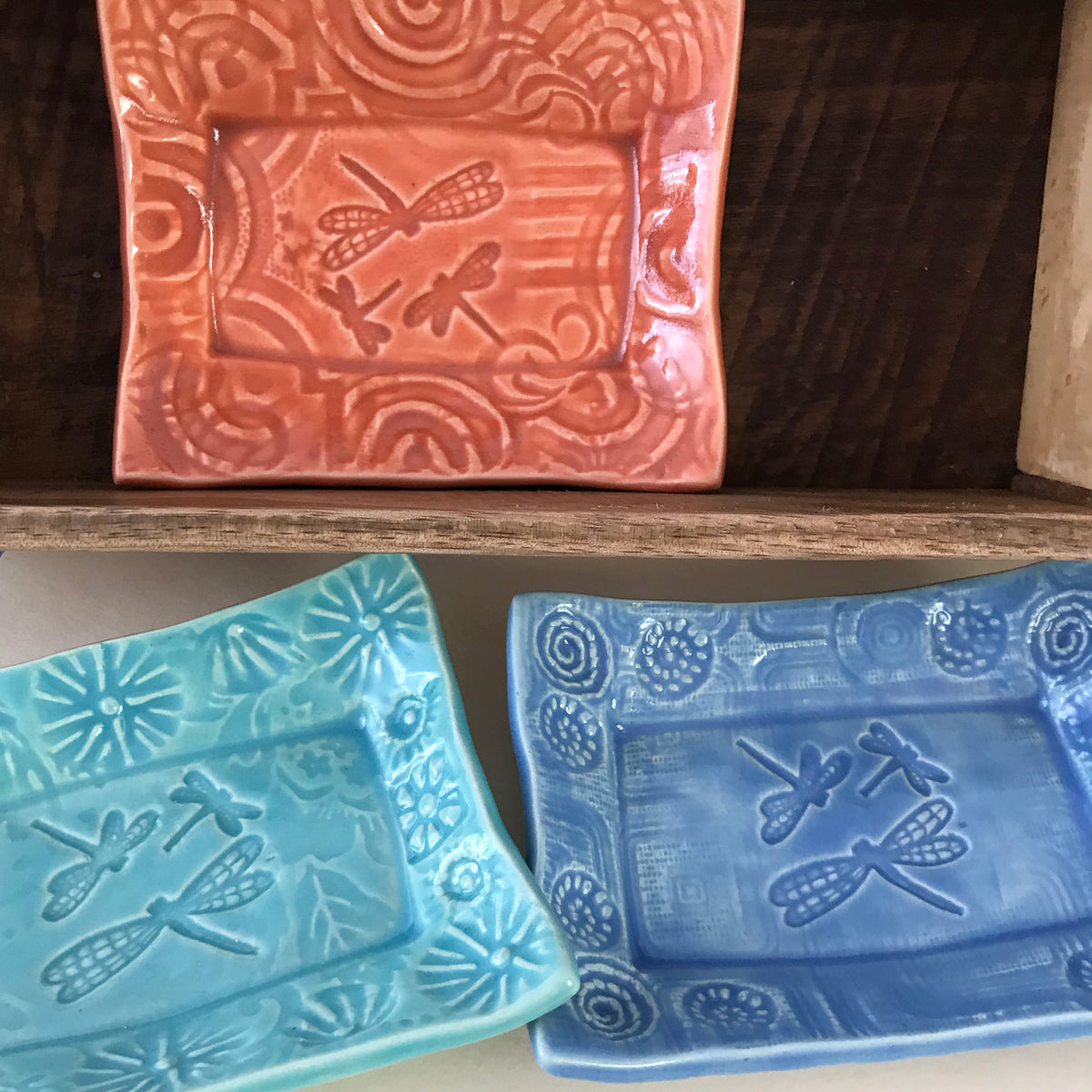 Our Dragonfly Soap Dishes are handmade and based upon an original design created by Lorraine Oerth.