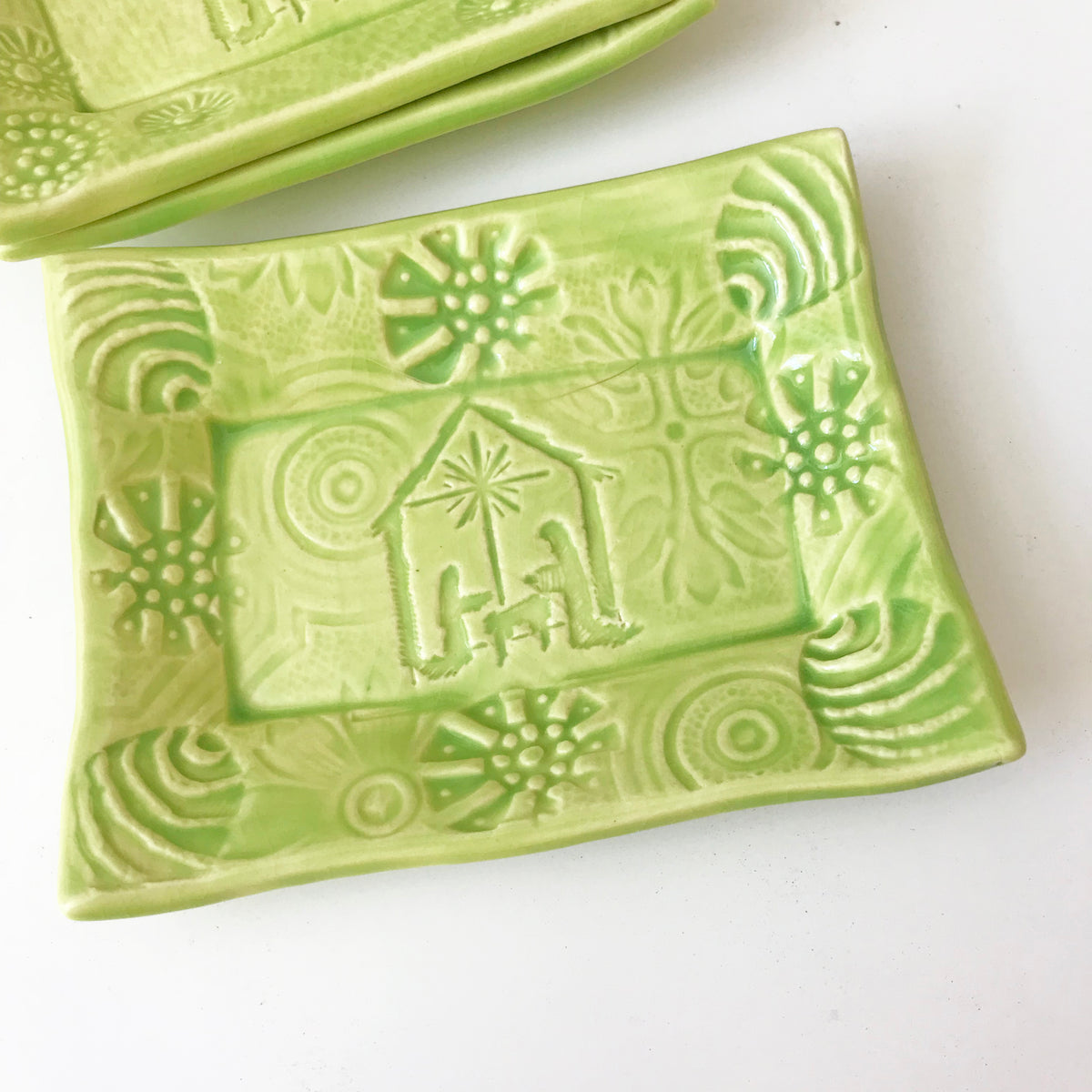 "Cute Little Soap Dish - ""Nativity"" - Lime"