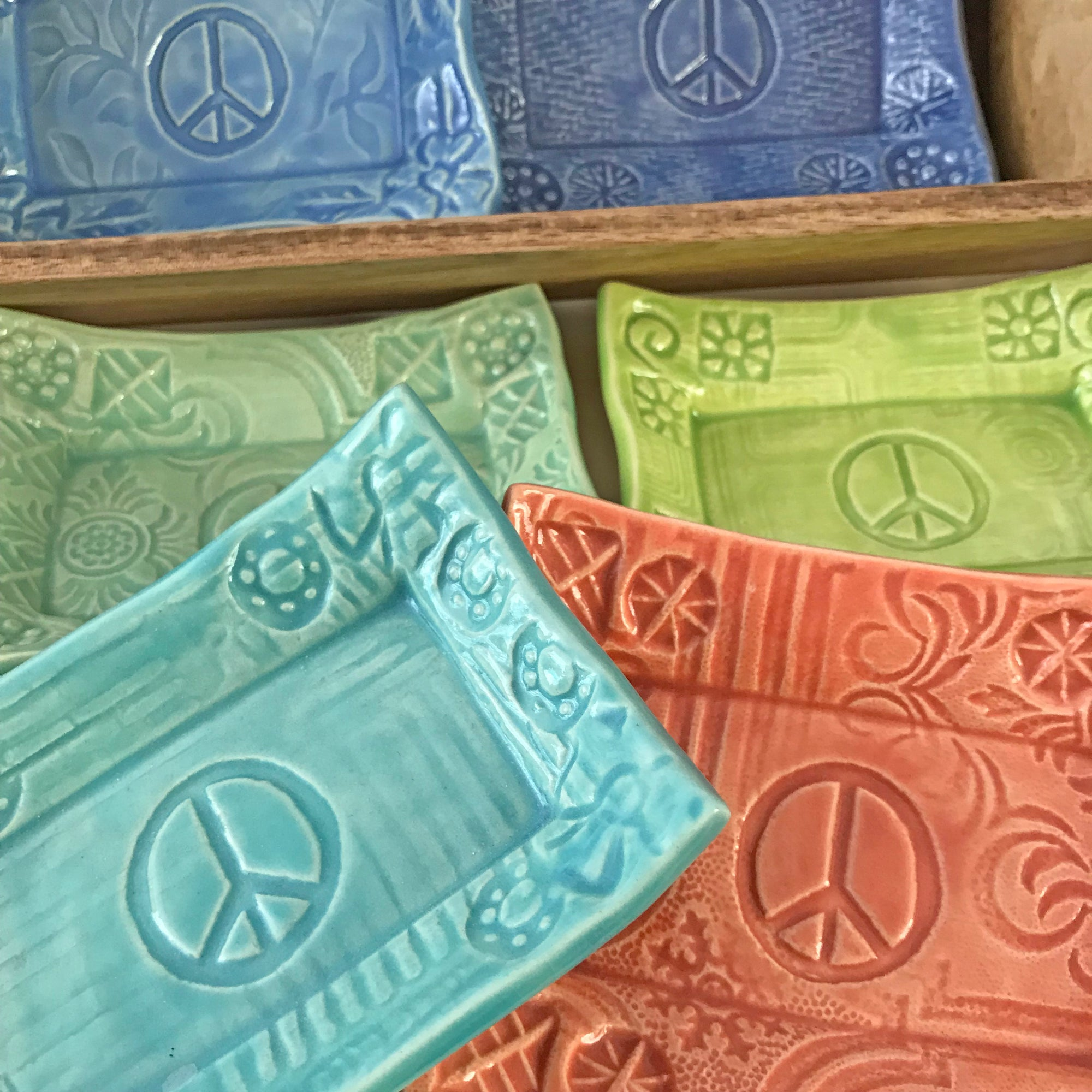 Soap Dish with peace sign.  Handmade and each is different.  A great gift idea.