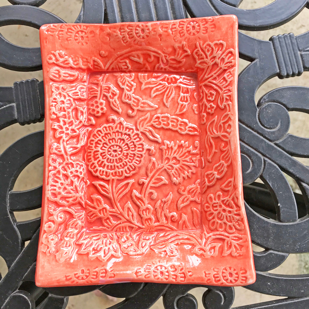 Handmade Ceramic Tray, Coral Color, With Deeply Embossed Floral Design.  5 x 7 ""