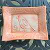Tray With Bird Design.  Folk Art Style.  Glazed In Orange Color.