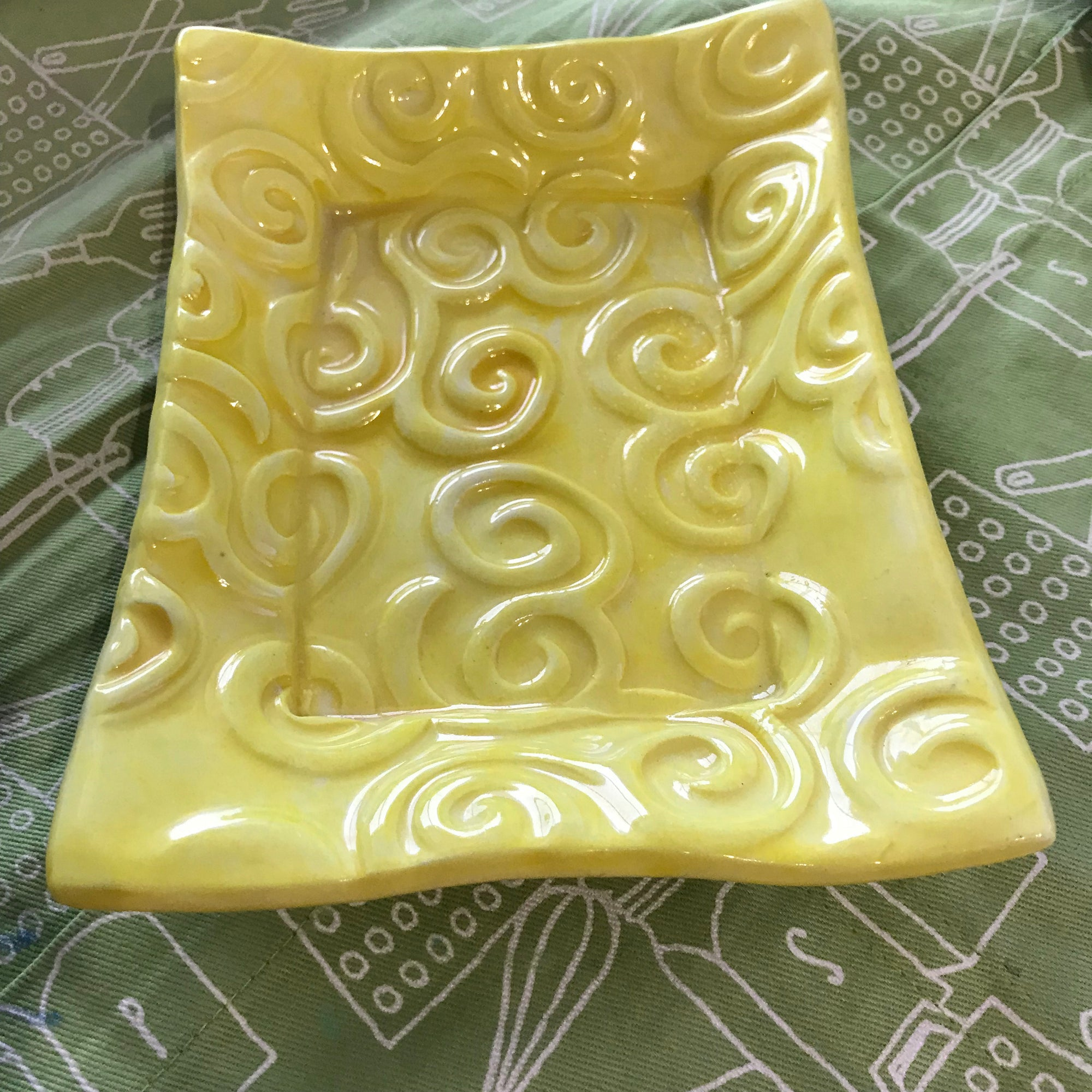 A Handmade Pottery Tray Glazed In A Happy Yellow Color.
