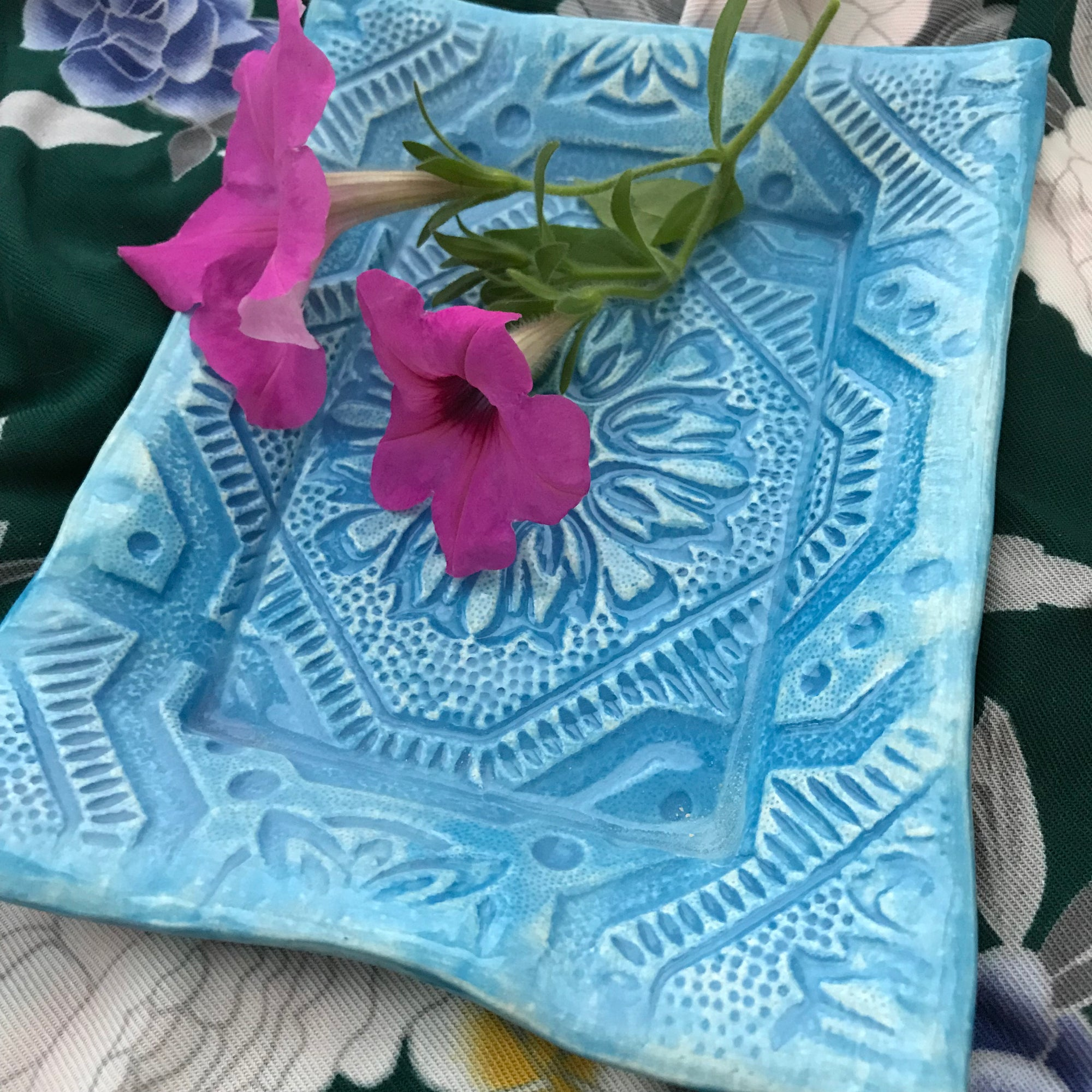 Handmade Earthenware Tray In Tin Ceiling Pattern Created By Lorraine Oerth and Company.  Alexandria Virginia.  Glazed In A Pretty Teal Blue.