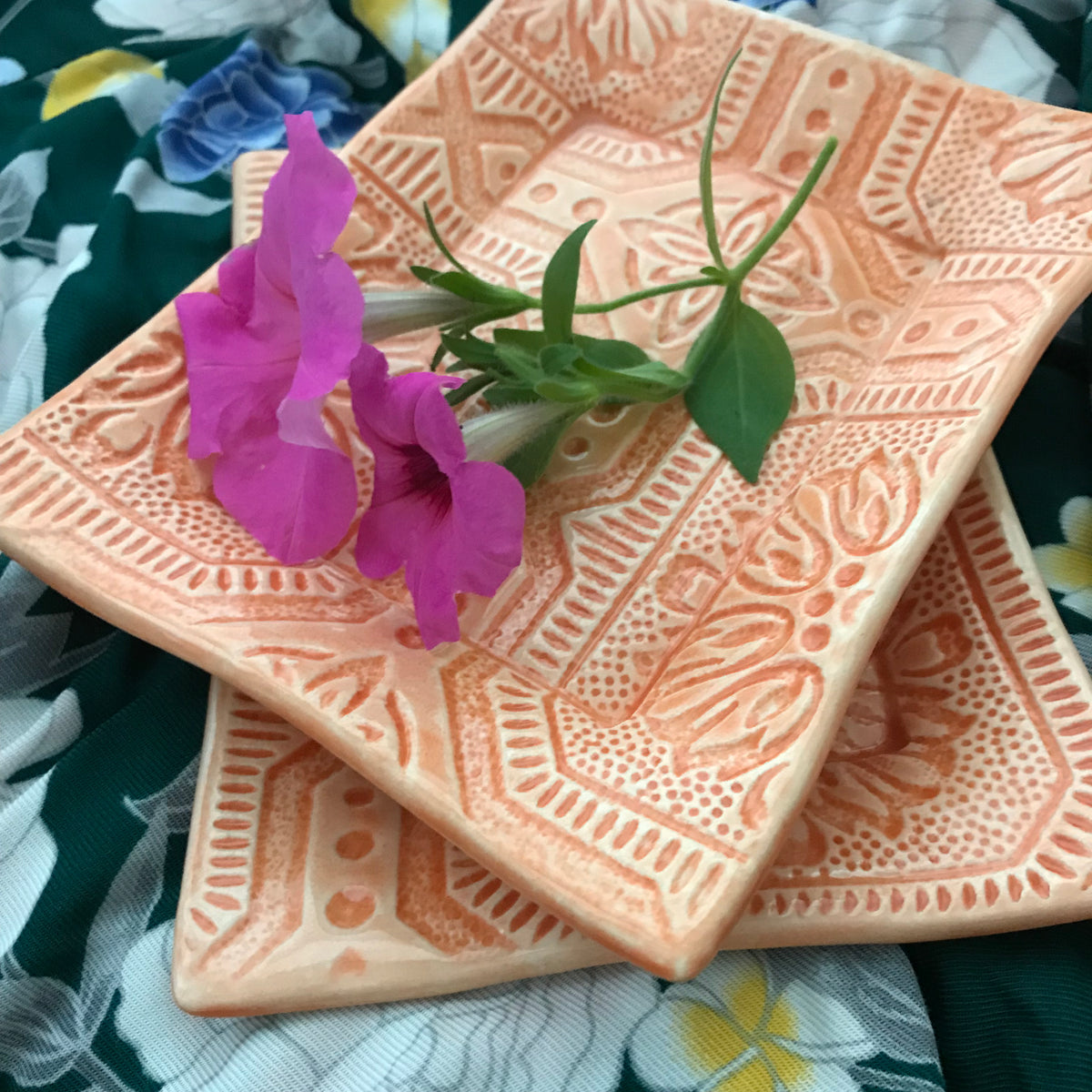 Our Handmade Earthenware Tray Is Glazed In a Pretty Orange Color.