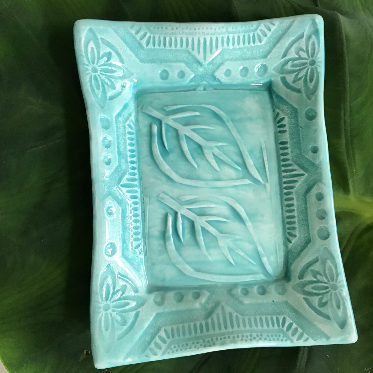 "Tray - 5 x 7 - ""Two Leaf"" - Turquoise"