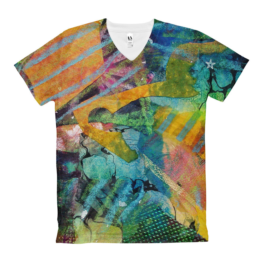 "Woman's V-Neck T-Shirt ""Abstract with Star"""
