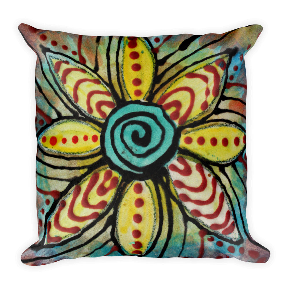 Square Pillow Abstract Flower Design