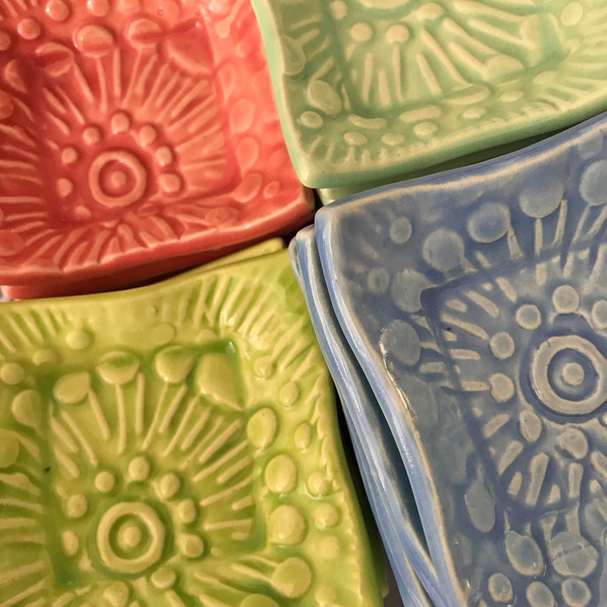 Tiny dish by Lorraine Oerth and Company measures 3 x 3 inches and comes in a variety of colors.