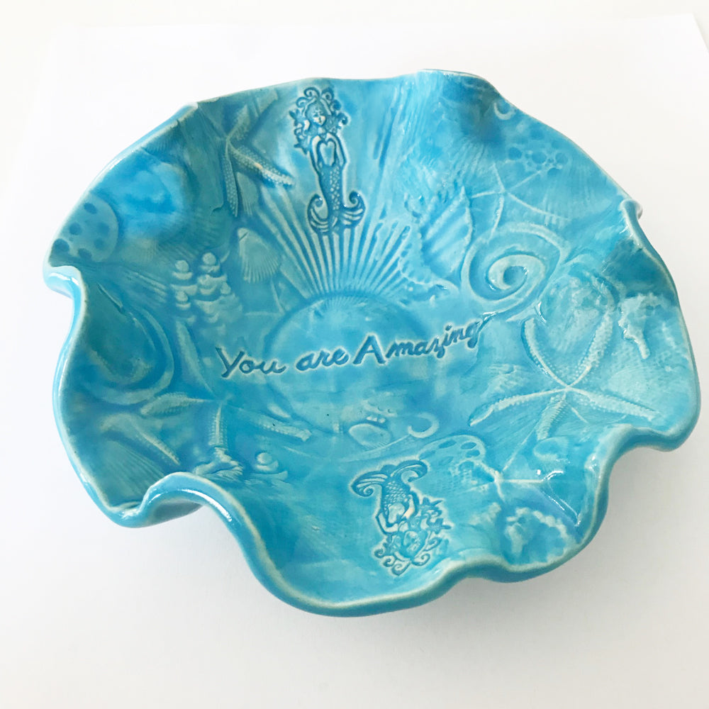 Handmade bowl with Mermaid Design by Lorraine oerth