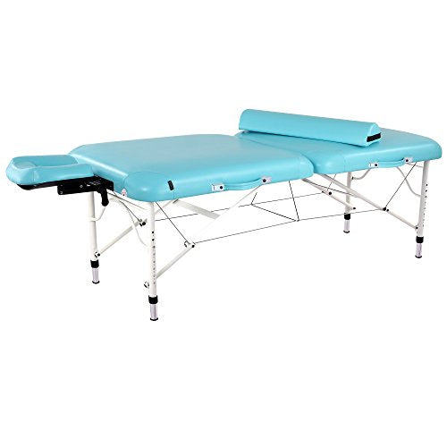 "Master Massage 30"" Calypso LX Ultra Light Weight Portable Massage Table in Surf Blue and White - All Therapeutic"